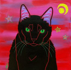 Green-eyed black cat is ready for Halloween.  Cat Pop Art  Modern Cat Painting  by dogpopart