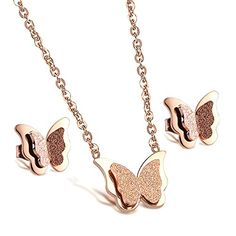 OPK Jewelry Dull Polish Rose Gold Plated Jewelry Set Butterfly Flower Charm Women Earrings Stud Necklace Set >>> Check out this great product.(This is an Amazon affiliate link and I receive a commission for the sales) #JewelrySets