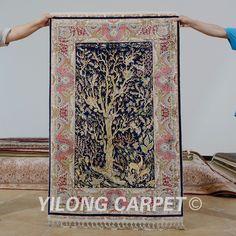 Yilong 3 39 x4 5 39 antique oriental blue tree of life carpet for Alfombra 3x4