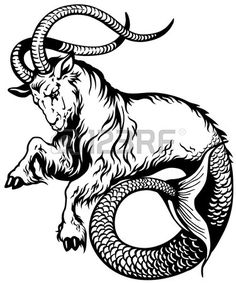 capricorn astrological zodiac sign black and white tattoo image Stock Vector