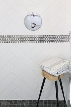 "llb - thinking of long herringbone subway tile for the shower and bathroom walls // The ""Basement with Potential"" Bathroom Makeover — Makeovers: Renovation Project border detail is nice Girls Bathroom, Bathroom Makeover, Beautiful Bathrooms, Penny Tile, Herringbone Wall, Penny Tiles Bathroom, Bathroom Remodel Master, White Bathroom Tiles, Penny Round Tile Bathroom"