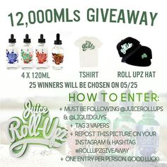 @juicerollupz It's time!! As we promised here's our giveaway! We will choose 25 winners! Winners will be announced on May 25th! Here's how to enter:  1-Repost this Pic 2-Follow @juicerollupz and @liquidguys 3-Tag 3 Vapers below  4-Hashtag #Rollupzgiveaway  Good Luck to everyone!!!!! #StrawBerry  #BlueRaspberry  #WATERMELONPUNCH  #OrangeCherry  TAG YOUR LOCAL VAPE SHOP! TAG US TO BE FEATURED!  Wholesale Inquires: sales@liquidguys.com  #JUICEROLLUPZ  80/20 by vapeporn