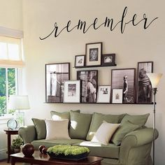 Nov 2019 - Remember wall decal to enhance a family picture wall or a memorial wall to a lost loved one. Remember wall decal to enhance a family picture wall or a memorial wall to a lost loved one. Family Room Walls, Family Room Design, Room Wall Decor, Living Room Decor, Family Wall Decor, Living Rooms, Family Room Decorating, Bedroom Wall, Decorating High Walls