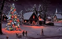 this reminds me of snowy winter nights growing up. I was never afraid to be outside at night when the xmas lights were all lit up