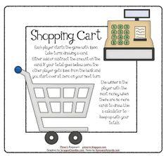 Shopping Cart Money Game -- Freebie