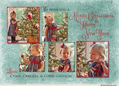Dusky Teal Patterned Photo Christmas Card