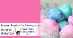 Dye Easter Eggs in Cool Whip for Finger Lickin' Sensory Fun!  - pinned by @PediaStaff – Please Visit ht.ly/63sNtfor all our pediatric therapy pins