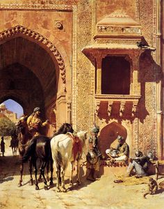 Gate Of The Fortress At Agra India - Edwin Lord Weeks - Oil Painting Reproductions Carl Spitzweg, Jean Leon, Empire Ottoman, India Painting, Medieval Life, Ludwig, Historical Art, Oil Painting Reproductions, Arabian Nights