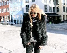 Black Shaggy Fur Coat, Coated Skinny Jeans