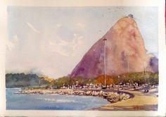 Pão de Áçucar - (Sugar Loaf) - RJ - Brasil #watercolor #aquarela #art #painting #pintura