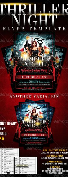 Thriller Night Halloween Flyer Template by CreativB   GraphicRiver Flyer Free, Free Flyer Templates, Event Flyer Templates, Print Templates, Halloween Party Flyer, Halloween Party Costumes, Halloween Cards, Fall Halloween, Flyer Layout
