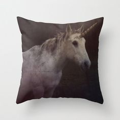 Unicorn Throw Pillow Cover Includes Pillow Insert - Animal Pillow - Fantasy Pillow - Photo Art - Horse Throw Pillow - Made to Order