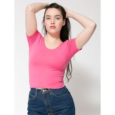 American Apparel Cotton Spandex Jersey Crop Tee ($28) via Polyvore featuring tops, t-shirts, cotton spandex t shirt, pink top, pink t shirt, fitted tee y jersey tee