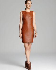 trina turk dresses pics | Trina Turk Dress Carnegie Leather in Brown (Cognac)