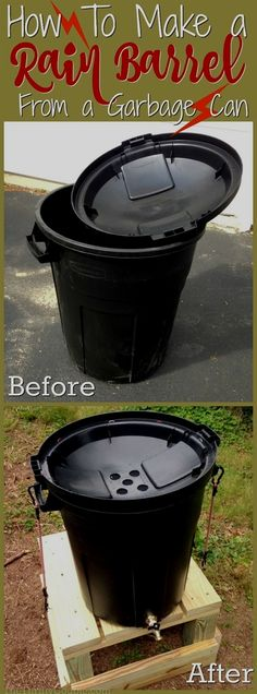 How to make a rain barrel from a garbage can DIY project for collecting rain water in a convenient, thrifty and green way. It is a cleaner, more natural way to care for your gardens, yard and landscape. Diy Garden, Garden Landscaping, Landscaping Ideas, Patio Ideas, Garden Ideas Diy, Garden Art, China Garden, Residential Landscaping, Luxury Landscaping