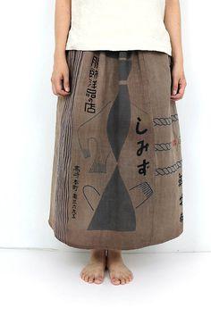 Japanese vintage TENUGUI skirt/brown/Japanese vintage hand