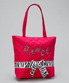 Take a look at this Hot Pink Zebra Dance Tote by Seesaws & Slides on #zulily today!