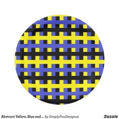 Abstract Yellow, Blue and Black Paper Plate