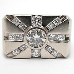 CUSTOM MEN'S STAR BURST DIAMOND RING SOLID 14K WHITE GOLD