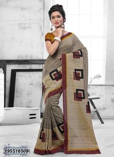 Refreshing Beige Coloured Bhagalpuri silk casual Saree