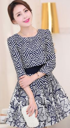 Zebra dotted and flower printed dress YRB0715