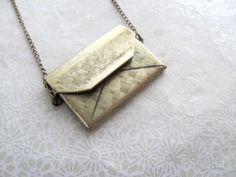 Envelope locket necklace on long antiqued by MySoCalledVintage, $24.00