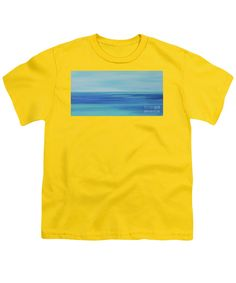 Clear Day .only Ocean As Far As The Eye Can Sea.every Shade Of Blue And Turquoise .clear To The Empty Horizon .sky Pale Hazy Blue .seascape In The Truest Sense Of The Word .etherial .meditative .calm . Serene Youth T-Shirt featuring the painting Warm Sea Shallows by Expressionistart studio Priscilla Batzell