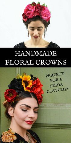 Amazing handmade floral crowns perfect for Dia de los Muertos or for dressing as Frida Kahlo with her corona de flores. #floral #crown #coronadeflores #diadelosmuertos #dayofthedead #frida #fridakahlo #halloween #costume #afflink #etsy