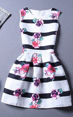 Sweet floral and stripes dress