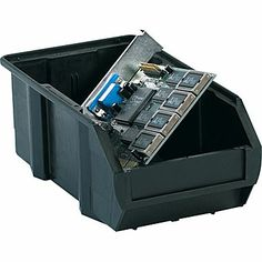 Available At Staples: BOX 7 3/8in. x 4 1/8in. x 3in. Conductive Bin, Black