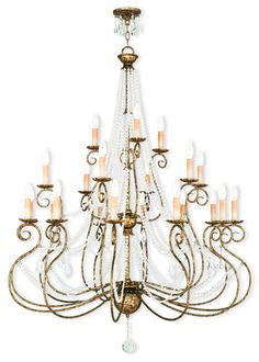 21 Light Foyer Chandelier The delicate design and gleaming elements create a feeling of romance and whimsy with multiple strands of clear crystals cascading and draping effortlessly, creating a look of casual elegance. Hand applied european bronze finish complements a variety of interiors.