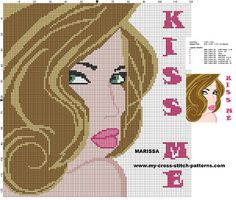 0 point de croix fille kiss me - cross stitch