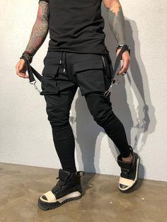 b1b9cfc2468fb Black Front Pocket Strap Jogger Pant B344 Streetwear Jogger Pants Great  quality breatheable blends Dry-