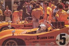Dan Gurney and Denny Hulme in their orange McLarens,1970 Can AM!
