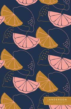 Citrus Slice Wallpaper | Anderson Print & Pattern | Rachel Anderson | Surface and Pattern Designer | Navy Blue, Bold Graphic