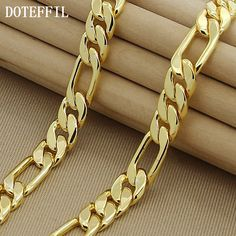 High Fashion 8mm 22-inches Gold Chain Link Necklace Chunky Males Jewelry 24k Vacuum Plating High Quality Free Shipping