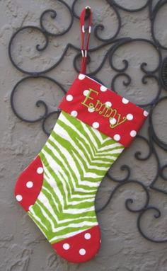 Lime Zebra Christmas Stocking