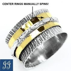 s7-5-02084-TWO-TONE-SPINS-RINGS-925-STERLING-SILVER-RING-JEWELRY-SIZE-7-5
