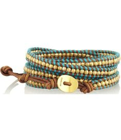 Gold-plated and leather five wrap bracelet.
