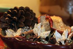 """An easy and inexpensive to make your home smell wonderful through the fall and holiday season is potpourri. Here is a collection of homemade potpourri recipes to get you started. [View the story """". Fall Potpourri, Homemade Potpourri, Potpourri Recipes, Treasure Basket, Pot Pourri, Rustic Fall Decor, Fall Scents, Orange Slices, Apple Slices"""