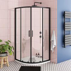 SHOP the Turin Matt Black 900 x Quadrant Shower Enclosure + Pearlstone Tray at Victorian Plumbing UK Turin, Bathroom Inspo, Bathroom Interior, Bathroom Ideas, Bathroom Inspiration, Door Stripping, Quadrant Shower Enclosures, Double Sliding Doors, Art Deco