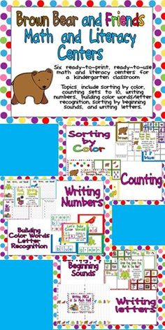 """This packet is full of fun, engaging, standards-based math and literacy activities for kindergarteners at the beginning of the school year!!! It is a great accompaniment to """"Brown Bear, Brown Bear, What Do You See?"""". Repinned by SOS Inc. Resources. Follow all our boards at pinterest.com/sostherapy for therapy resources."""