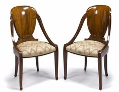 A pair of Süe et Mare carved mahogany side chairs: David Weill produced by La Compagnie des Arts Français, circa 1923.