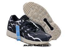 first rate b3381 be104 Chaussures Authentiques - Adidas Originals Zx Flux Foudre Femme Noir Blanc