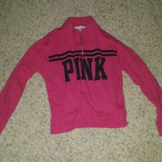 PINK yoga half zip sweatshirt Pretty loved. No holes or stains but used condition PINK Victoria's Secret Tops Sweatshirts & Hoodies