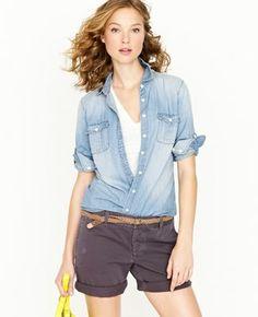 Only $30! J Crew Womens Light Wash Keeper Perfect Summer Chambray Button Up Shirt sz 10 #shopmodo #modoboutique
