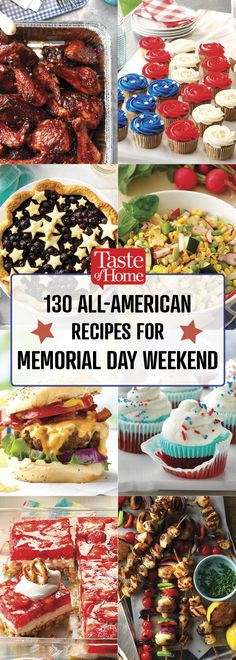 130 All-American Recipes for Memorial Day Weekend - Recettes Américaines All American Food, American Dinner, American Recipes, American Party Food, New Recipes, Holiday Recipes, Cooking Recipes, Holiday Ideas, Memorial Day