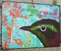 Magpie is a mixed media painting 6 X 8 inches. The bird as well as the ...