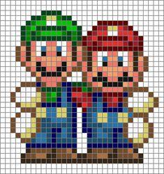 Mario and Luigi perler bead pattern