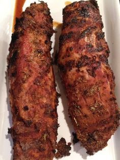 sweet and spicy dry rub pork tenderloin -- really easy to prepare.leave out the brown sugar for a yummy compliant meal! Rub Recipes, Grilling Recipes, Pork Recipes, Cooking Recipes, Smoker Recipes, Cooking Ham, Game Recipes, Spinach Recipes, Cooking Salmon